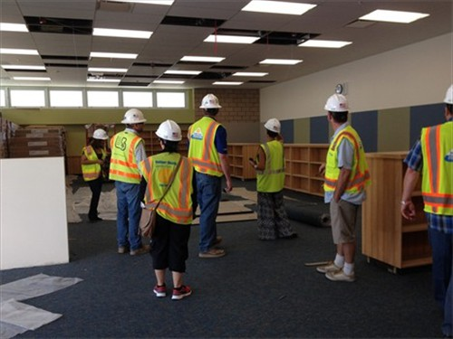 Newcomb Academy job site tour interior