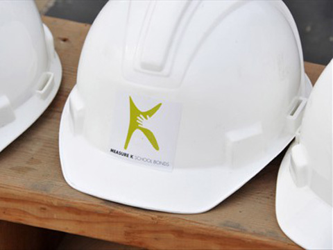 Measure K hardhat at McBride groundbreaking ceremomy