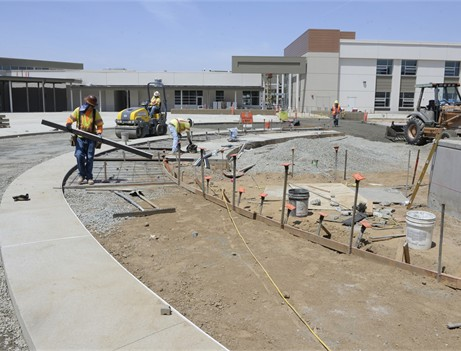 pouring concrete walkway