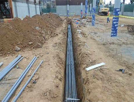 construction site pipe in ditch