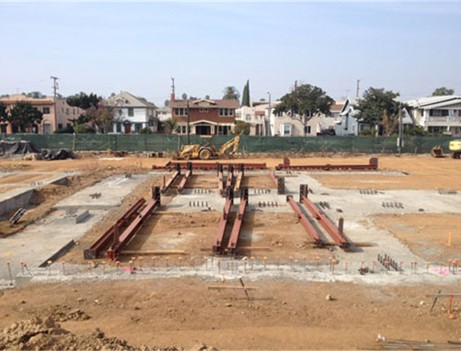 construction site with rebar on ground