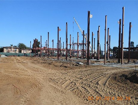 construction site with vertical rebar installed