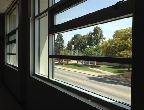 interior classroom windows from an angle