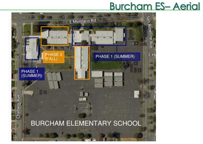 Burcham Elementary School Measure E aerial view