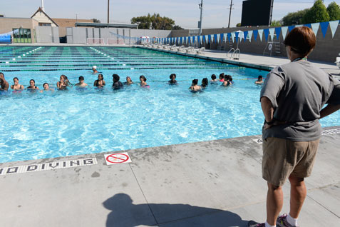 Kids at swimming class in Cabrillo High School pool