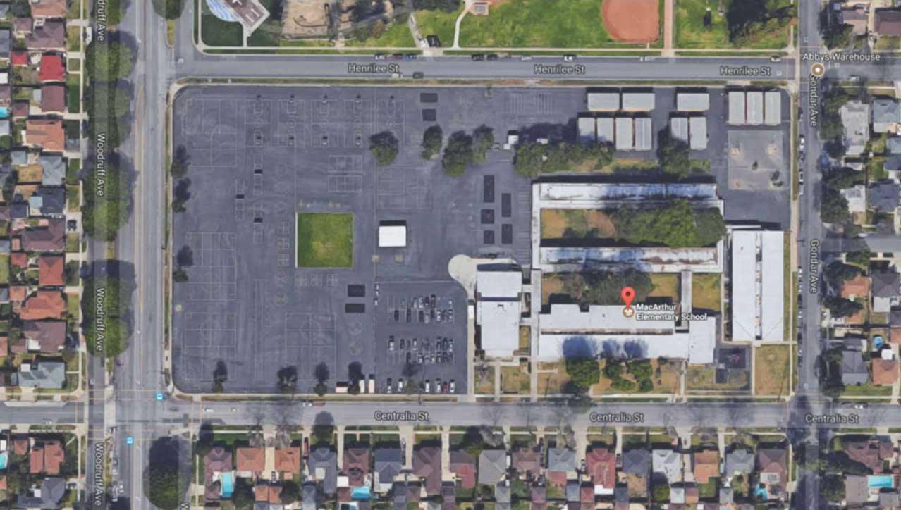 MacArthur Elementary School aerial view