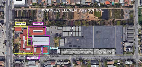 aerial view of McKinley Elementary School Measure E plans