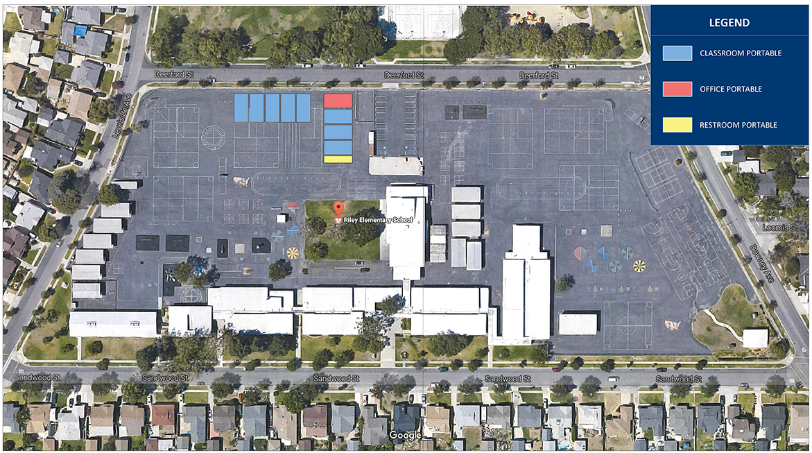 Riley ES planned interim housing portable classrooms in Long Beach