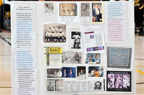 display of photos and articles