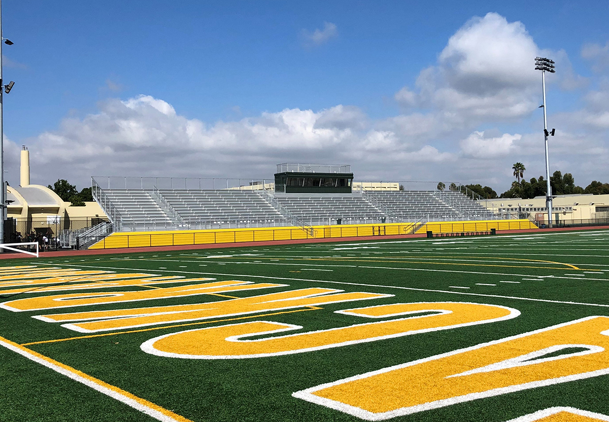 Field and bleachers at Poly High School in Long Beach CA